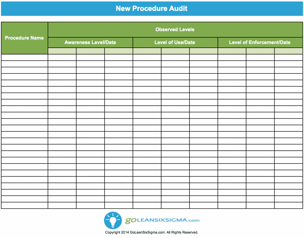 New Procedure Audit   GoLeanSixSigma.com  Audit Forms Templates