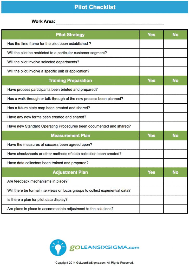 Pilot checklist for Pilot project plan template