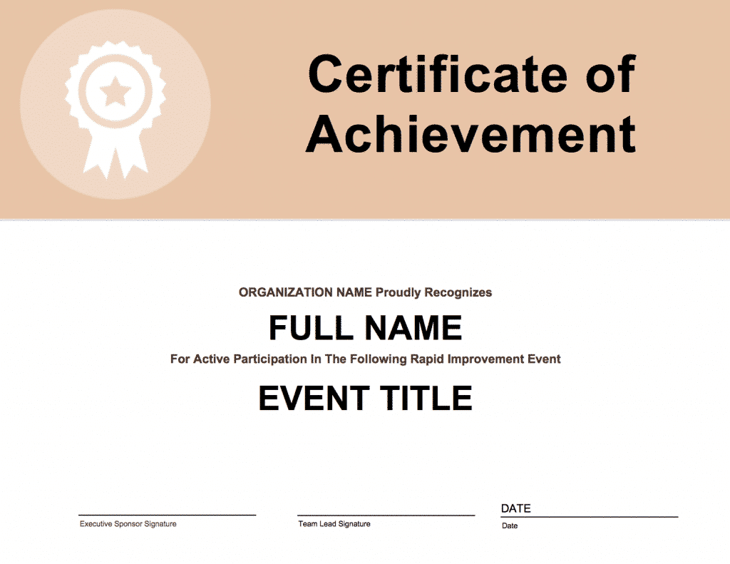 Rapid Improvement Event Participation Certificate - GoLeanSixSigma.com